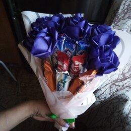 Украшения и бутафория - букет сладкий из конфет и роз из лент, 0