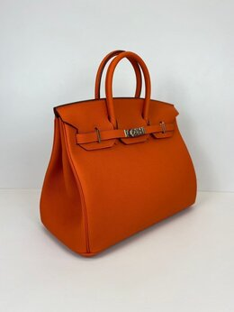 Сумки - Сумка Hermes birkin натуральная кожа оранжевая, 0