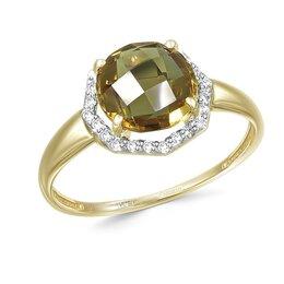 Кольца и перстни - Кольцо с султанитом и 25 фианитами из жёлтого золота, 0