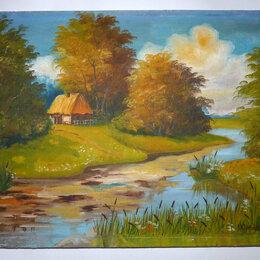 """Картины, постеры, гобелены, панно - Картина маслом """"Пейзаж"""" Л. Юртаев 1990, 0"""