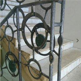 Лестницы и элементы лестниц - Перила кованые с натуральным камнем , 0