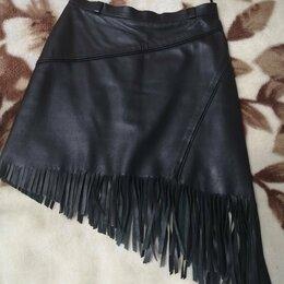 Юбки - Юбка чёрная кожа с бахромой , 0