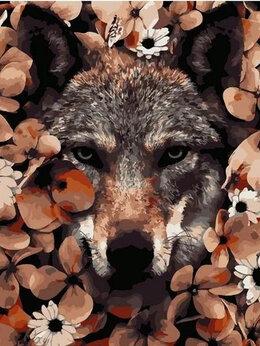 Раскраски и роспись - Картины по номерам Paintboy Волк в цветах, 0
