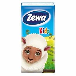 Влажные салфетки - Детские носовые платки Zewa Kids 3 слоя 10шт, 0