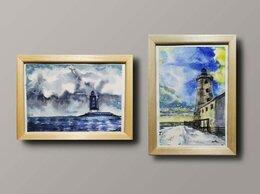 Картины, постеры, гобелены, панно - Акварель картина в раме маяк море , 0