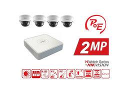 Готовые комплекты - Видеонаблюдение на 4 камеры 2MP HiWatch (IP-POE), 0