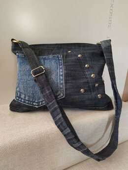 Сумки - джинсовая женская сумка ручной работы, 0