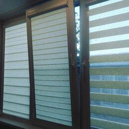 Римские и рулонные шторы - Рулонные шторы Зебра белый лен в коробе, 0