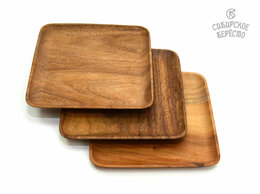 Тарелки - Тарелка деревянная квадратная из акации 25х25.…, 0