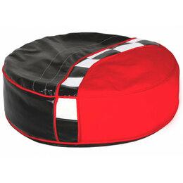 Пуфики - Пуфик круглый мягкий черно-красный Formula, 0