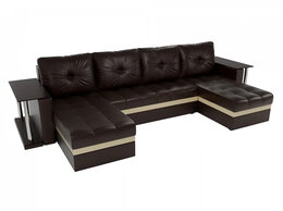 Диваны и кушетки - П-образный диван Атланта со столом Коричневый, 0