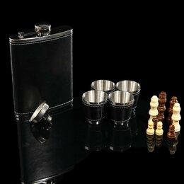 Бокалы и стаканы - Набор 7 в1: фляжка 8 oz чёрная, 4 рюмки, воронка, шахматы, 18х24 см, 0