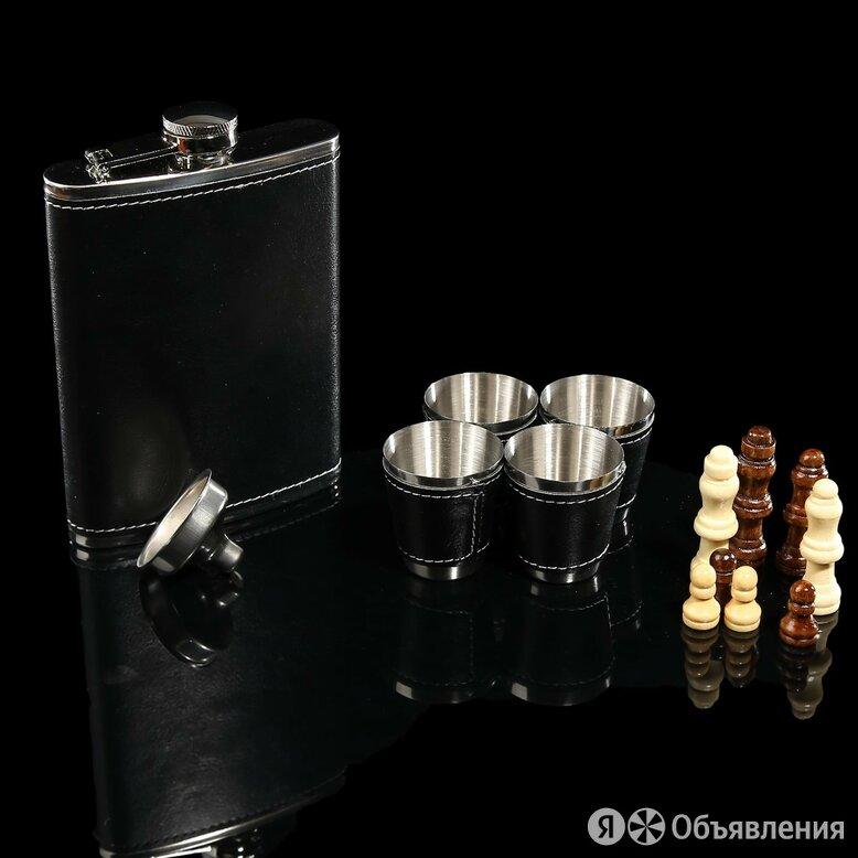 Набор 7 в1: фляжка 8 oz чёрная, 4 рюмки, воронка, шахматы, 18х24 см по цене 1790₽ - Бокалы и стаканы, фото 0