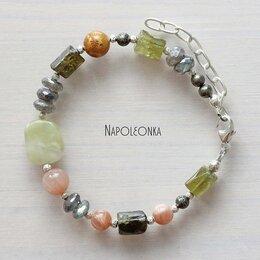 Браслеты - Асимметричный браслет из натуральных камней и…, 0