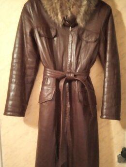 Пальто - Кожаное зимнее пальто с поясом, 0