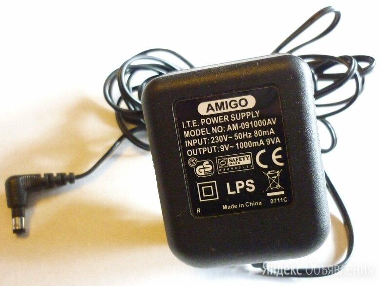 Блок питания Amigo AM-091000AV 9V/1000mA, оригинал, б/у по цене 250₽ - Аксессуары для сетевого оборудования, фото 0