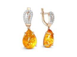 Серьги - Серьги с янтарём и 38 фианитами из красного золота, 0