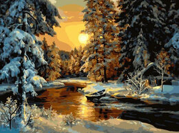 Раскраски и роспись - Картины по номерам Paintboy Избушка в зимнем лесу, 0