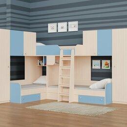 Кровати - Детская трехместная кровать для мальчиков ТРИО/3 дуб молочный-голубой, 0