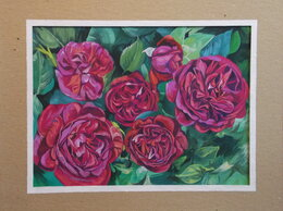 Картины, постеры, гобелены, панно - Малиновые розы. Гуашь. Букет, цветы, сад,картина, 0