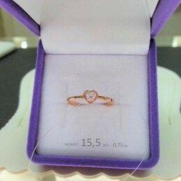 Кольца и перстни - Золотое кольцо • Сердце с Фианитами размер 15,5, 0