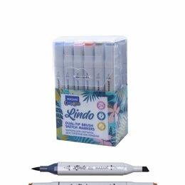 Письменные и чертежные принадлежности - Набор маркеров для скетчинга двусторонних LINDO,24цв., Pastel colors (пастельные, 0