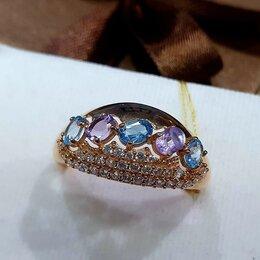 Кольца и перстни - Новое золотое кольцо с топазами и аметистами , 0