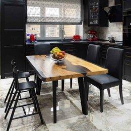 Столы и столики - Обеденный стол из слэбов и смолы, 0