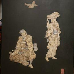 Картины, постеры, гобелены, панно - японское панно авторское ,кость,перламутр,дерево,19 век, 0