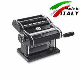 Пельменницы, машинки для пасты и равиоли - Marcato Design Atlas 150 Nero ручная тестораскатка с насадкой лапшерезка, 0