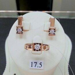 Комплекты - Золотой комплект с Фианитами - Кольцо размер 17,5, 0