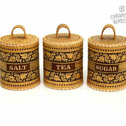 Ёмкости для хранения - Набор туесов Рябина Salt Tea Sugar №2, 0