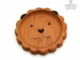 Тарелки - Тарелка деревянная с животным Лев, 0