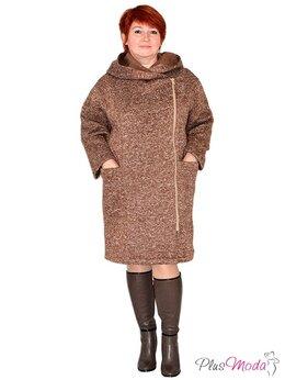 Футболки и топы - Женское пальто двубортное с капюшоном больших разм, 0