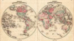 Гравюры, литографии, карты - 1862 год. Кабинетная карта Мира с…, 0