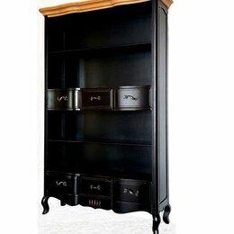Стеллажи и этажерки - Книжный стеллаж черный состаренный с деревянным…, 0