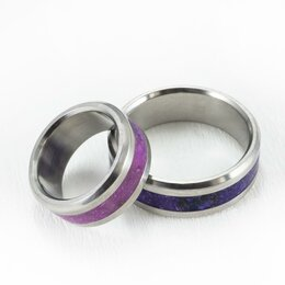 Кольца и перстни - Титановые кольца с сугилитом (лавулит), 0