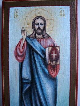 Картины, постеры, гобелены, панно - Икона (картина) 40x20 Иисус Христос, 0