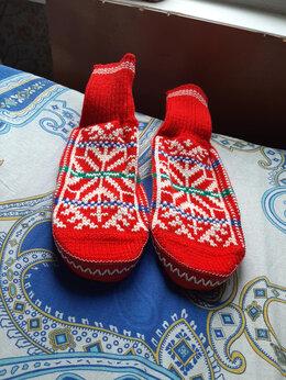 Домашняя обувь - Домашние вязаные тапочки на подошве Индия, 0