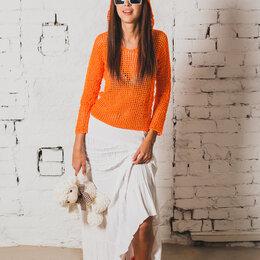 Блузки и кофточки - Оранжевая кофта сетка с капюшоном, 0