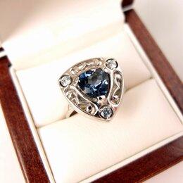 Кольца и перстни - 💖 Кольцо с топазом лондон блю,  серебро, в футляре, 0
