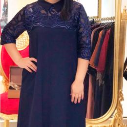 Платья - Синее платье блестящий верх, 0
