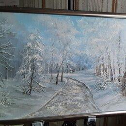 Картины, постеры, гобелены, панно - Картина маслом на холсте зимний пейзаж лесная дорога от Nataly_art_tag , 0