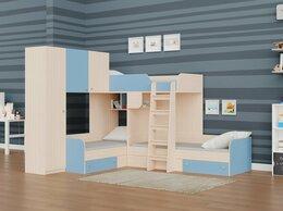 Кровати - Трехместная кровать ТРИО/1 дуб молочный-голубой, 0