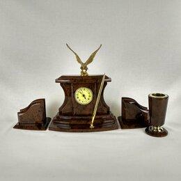 """Часы настольные и каминные - Настольный набор с часами """"Орел"""" обсидиан, 0"""