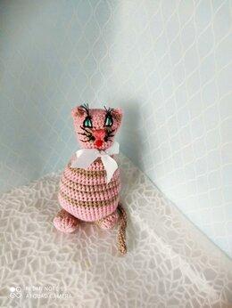 Мягкие игрушки - Кот розовый амигуруми, 0