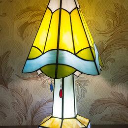 Настольные лампы и светильники - Настольная лампа-ночник из витражного стекла., 0