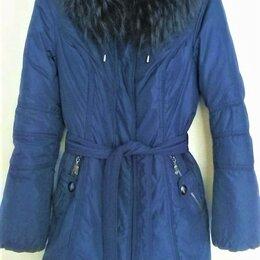Пуховики - Пуховик-куртка, натуральный пух, с мехом енота, 0