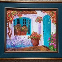 """Картины, постеры, гобелены, панно - Картина """"Итальянский дворик"""" с багетом, 38х33см, акпил, холст, 0"""