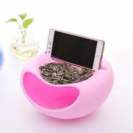Посуда - Пластиковая миска для снеков + подставка для телефона, 0